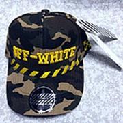 Кепка Off-white на ремешке резинке камуфляжная с желтым фото