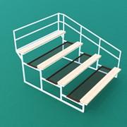 Трибуна спортивная 4х-ярусная (20 мест) с сиденьями из обрезной доски и с перилами по торцам ТЗДП-4-20 фото