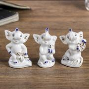 """Сувенир """"Три слоника"""" набор 3 шт. 7х4,7х2,7 см фото"""