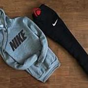 Мужской спортивный костюм Nike серо чёрный с капюшоном (НАЙК) фото