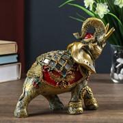 """Сувенир полистоун """"Слон в красной попоне с золотыми узорами и зеркалами"""" 18,5х8х23 см фото"""