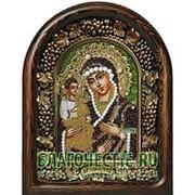 Дивеевские золотошвейные мастерские Троеручица Богородица, дивеевская икона ручной работы из полудрагоценных камней и бисера Высота иконы 17 см фото