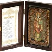 Настольная икона Святой равноапостольный Мефодий Моравский на мореном дубе фото