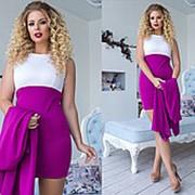 Деловое двухцветное платье женское с накидкой (8 цветов)-Малиновый ТК/-1161 фото