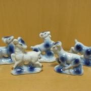 Набор овечек 5 шт-фарфоровые, белые с золотом, арт. 1283 фото