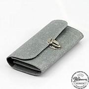 "Кожаный кошелек ""Эми"" (серый) фото"