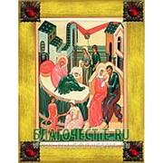 Благовещенская икона Рождество Богородицы, копия старой иконы, печать на дереве, золоченая рамка, стразы Высота иконы 18 см Красные стразы фото