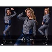 """Женский спортивный костюм """"Prada"""", джинсовые вставки (2 расцветки) фото"""