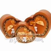 Коробка картонная цветная ККЦ (3шт) сердце (31/28/13-23/20/10)см фото