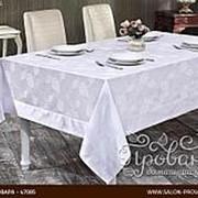 Скатерть прямоугольная Karna NEO COTON жаккард белый 160х300