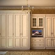 Шкафы и шкафы-купе деревянные с ручной резьбой, встроенные, радиусные, гардеробные, для одежды, для платьев и белья, для книг, по индивидуальным заказам от производителя Киев фото