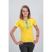 Женская футболка с вышивкой. Орнамент голубой 42 фото