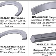 Запасные части: ПМ-400.02.007 Полукольцо, ПМ-400.02.008 Полукольцо, ПМ-400.02.009 Полукольцо, ПМ-400.02.011 Планка верхняя фото