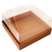 Коробка для торта до 2 кг с прозрачной пластиковой крышкой. Р-р 240*240*110 мм. бур/бур фото
