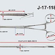 Зажим кровоостанавливающий Кохера, 1х2 зубчатый прямой №2,160 мм, З-5, арт. J-17-118 фото