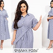 Платье женское миди в полоску (3 цвета) PY/-1011 - Серый фото