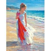 Картина по номерам Девушка с красным шарфом фото