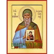 Храм Покрова Богородицы Иоанн Дамаскин, святой преподобный, икона на сусальном золоте (дерево 2 см с ковчегом) Высота иконы 10 см фото