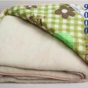 Одеяло из натуральной овечьей шерсти одностороннее мех+текстиль фото