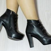 Женские ботинки на каблуке из замши или кожи, в расцветках. ДС-22-0618 фото