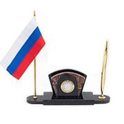 Визитница настольная каменная с флагом России из креноида фото