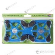 Подставка-кулер для ноутбука с подсветкой синего цвета с двумя вентиляторами фото