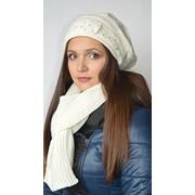 Комплект шапка с шарфом белый фото