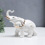 """Сувенир керамика """"Белоснежный слон"""" с золотом 17 см фото"""