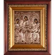Икона Святая Троица в киоте с окладом (тонированная медь). Арт.Гл.1814 фото