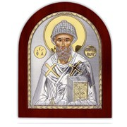 Икона Святой Спиридон серебряная с позолотой Silver Axion Греция 85 х 100 мм фото