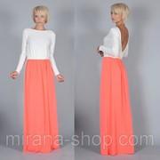 Платье длинный рукав/верх молоко/низ оранж фото