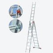 Трехсекционная алюминиевая лестница 3х7 ступеней TR 086374 фото