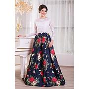 Вечернее платье кружевной лиф и модная цветная юбка V859 фото