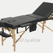 Складной 3-х секционный деревянный массажный стол BodyFit, черный фото