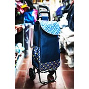 Универсальная сумка-тележка на двух колесах 32х30х100см синяя с желтыми цветами фото
