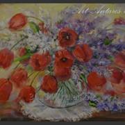 Картина Красные тюльпаны и сирень фото
