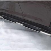 Пороги Suzuki Grand Vitara 2008-2011 5 дв. (труба овал с накладками 75х42 мм) фото