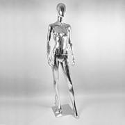 Манекен для одежды женский ростовой глянцевый, стоячий, серебряный. RKAB1-S фото