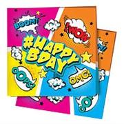 Салфетки Комиксы #HappyBday 24х24см 12шт фото
