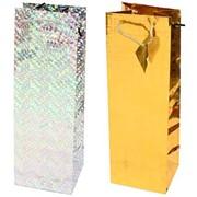 Пакет подарочный голографический для бутылок 12x10х36см, 2 цвета, (Karotti) фото