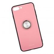 Защитная крышка «LP» для iPhone 7 Plus/8 Plus «Glass Case» с кольцом (розовое стекло/коробка) фото