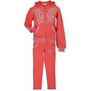 Модный спортивный костюм для девочки кораллового цвета 14 фото