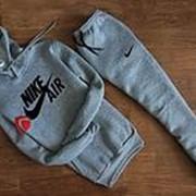 Мужской спортивный костюм Найк Air серый с капюшоном фото