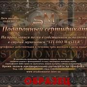 Подарочный сертификат на запись песни! фото