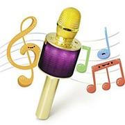Беспроводной караоке микрофон D03 с колонкой и LED подсветкой (золото) фото
