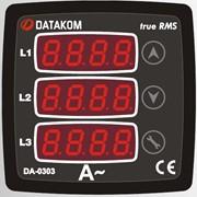 DATAKOM DA-0303 Амперметр, 75-150V питание, 3 фазы, 72x72мм, 3 дисплея фото