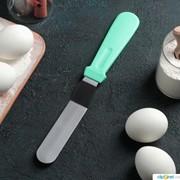 Лопатка металлическая с пластиковой ручкой 26,7х3х1,5 см изогнутая, раб часть 14,5 см, цвет МИКС фото