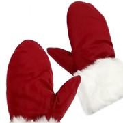 Бархатные варежки Деда Мороза с меховыми манжетами фото