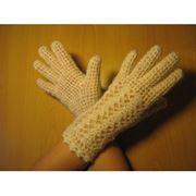Перчатки белые ажурные (крючок) фото