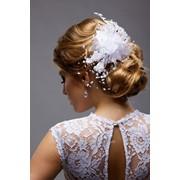 Цветок для свадебной прически №272, белый /роза, органза/ фото